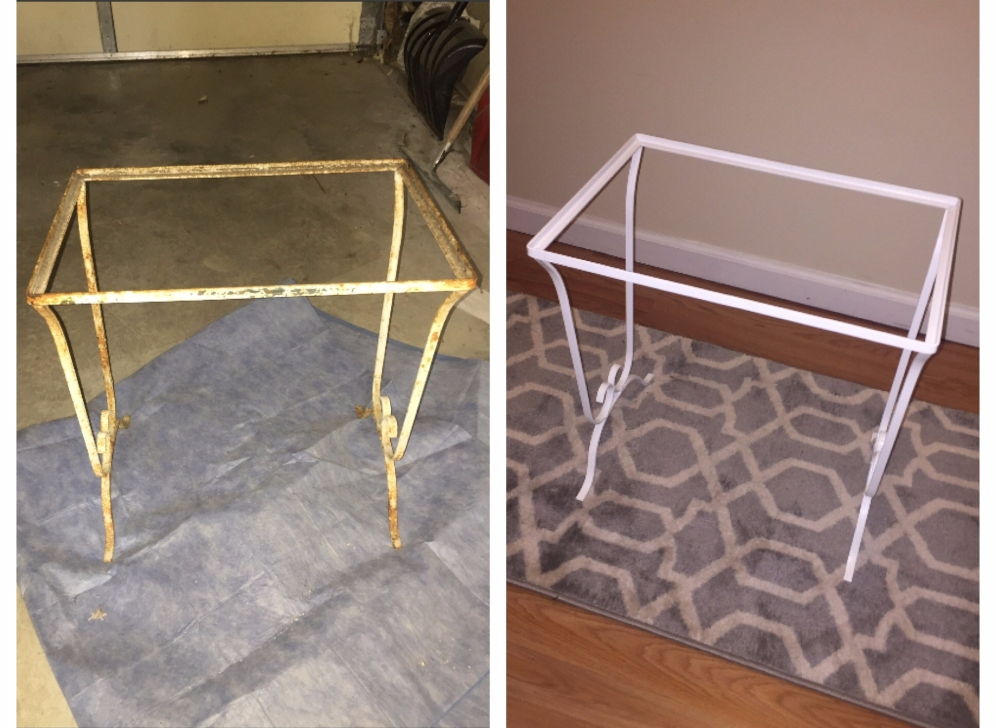 wrought iron table before and after