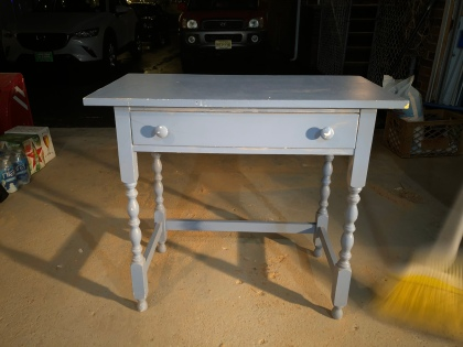 small blue desk
