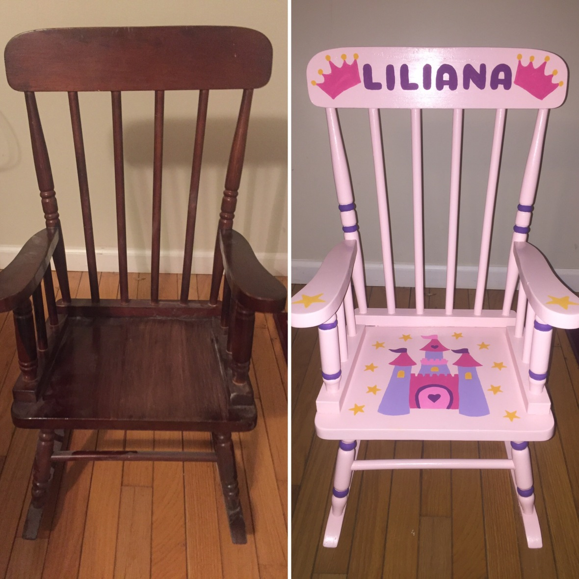 Before and after of rocking chair 2