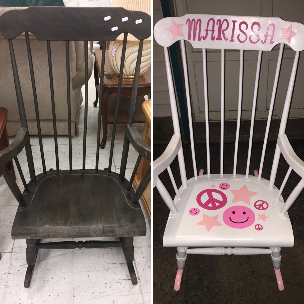 Before and after of rocking chair 4