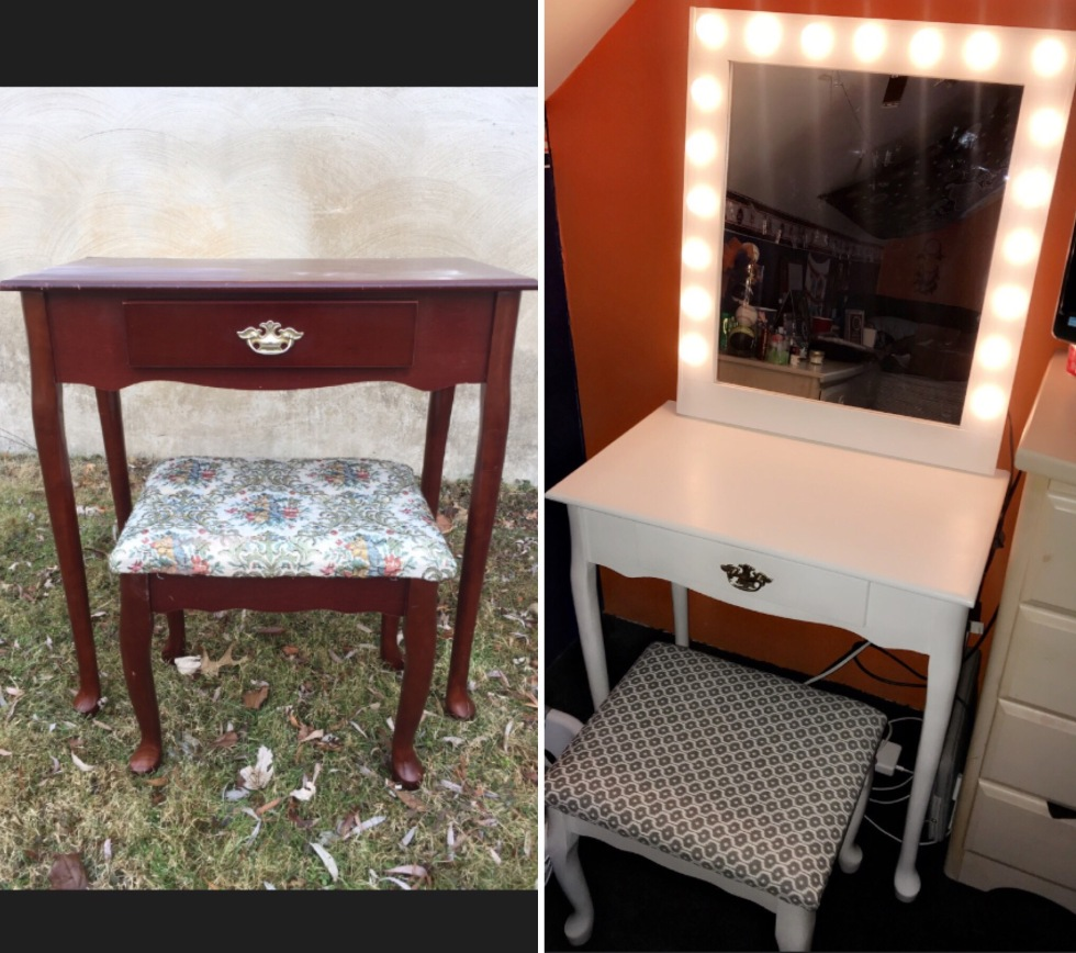 before and after vanity