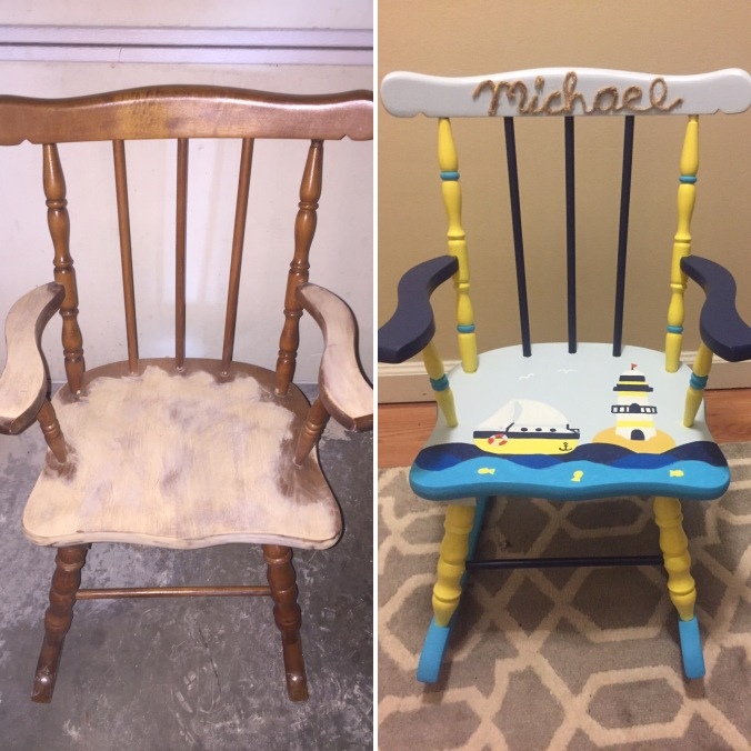michael rocking chair before and after