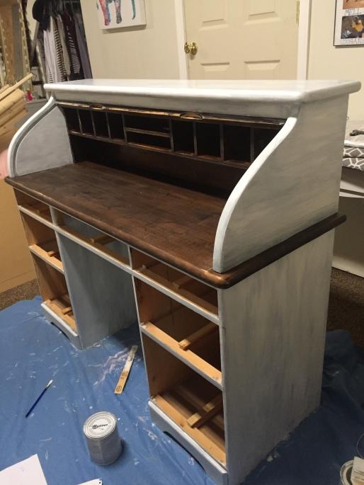 roll top desk in progress 2