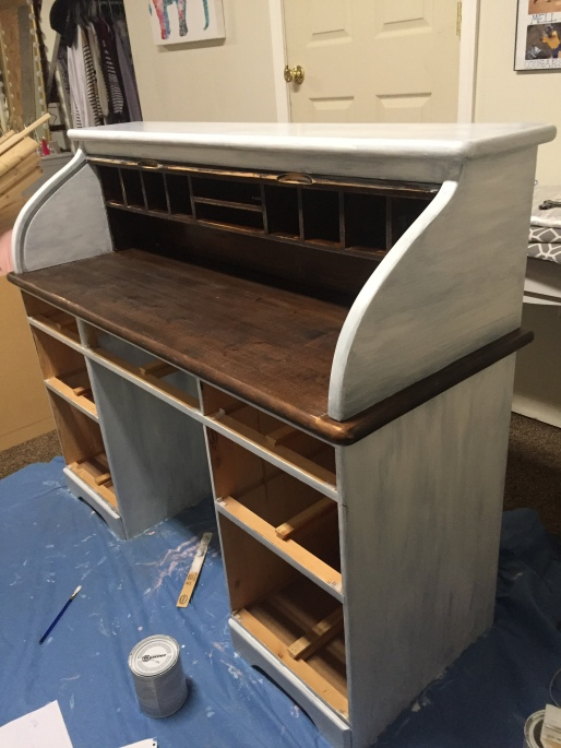roll top desk in progress 2