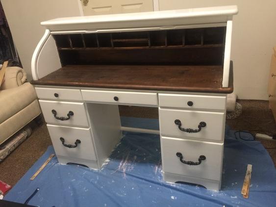 roll top desk in progress 3