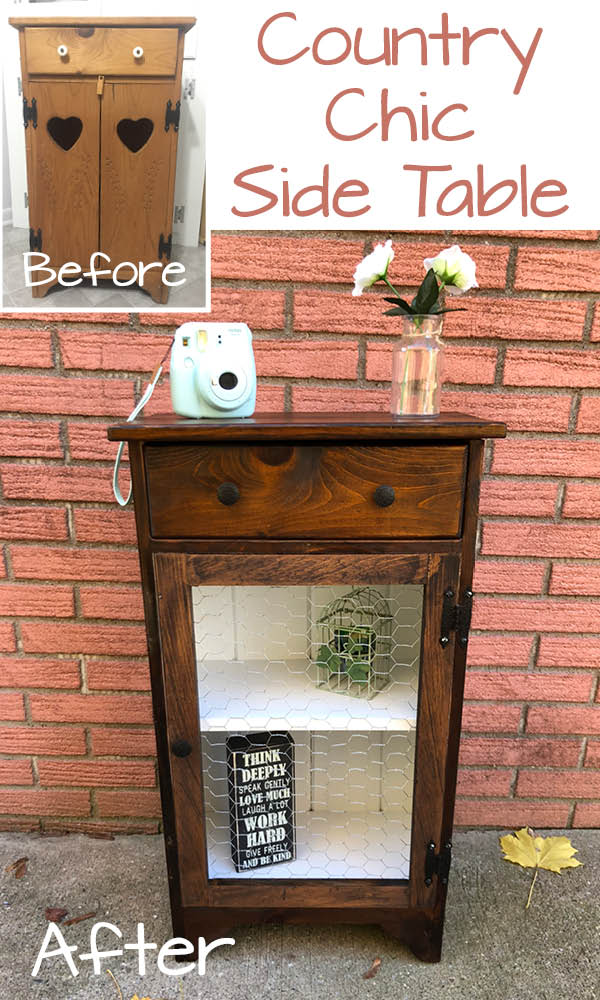 Country Chic Side Table before and after_Pinterest