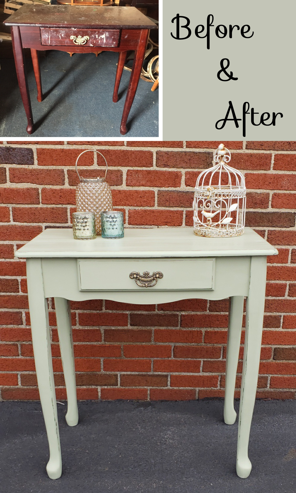 Green table before and after_Pinterest