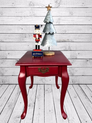 red table with backdrop