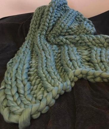 dusty green blanket