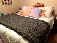 grey chunky knit blanket