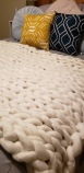 white chunky knit blanket