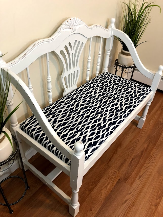 White Distressed Bench 2